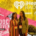 Podcasters Archita F. and Meha C. at Podcast Movement Evolutions in Los Angeles, California