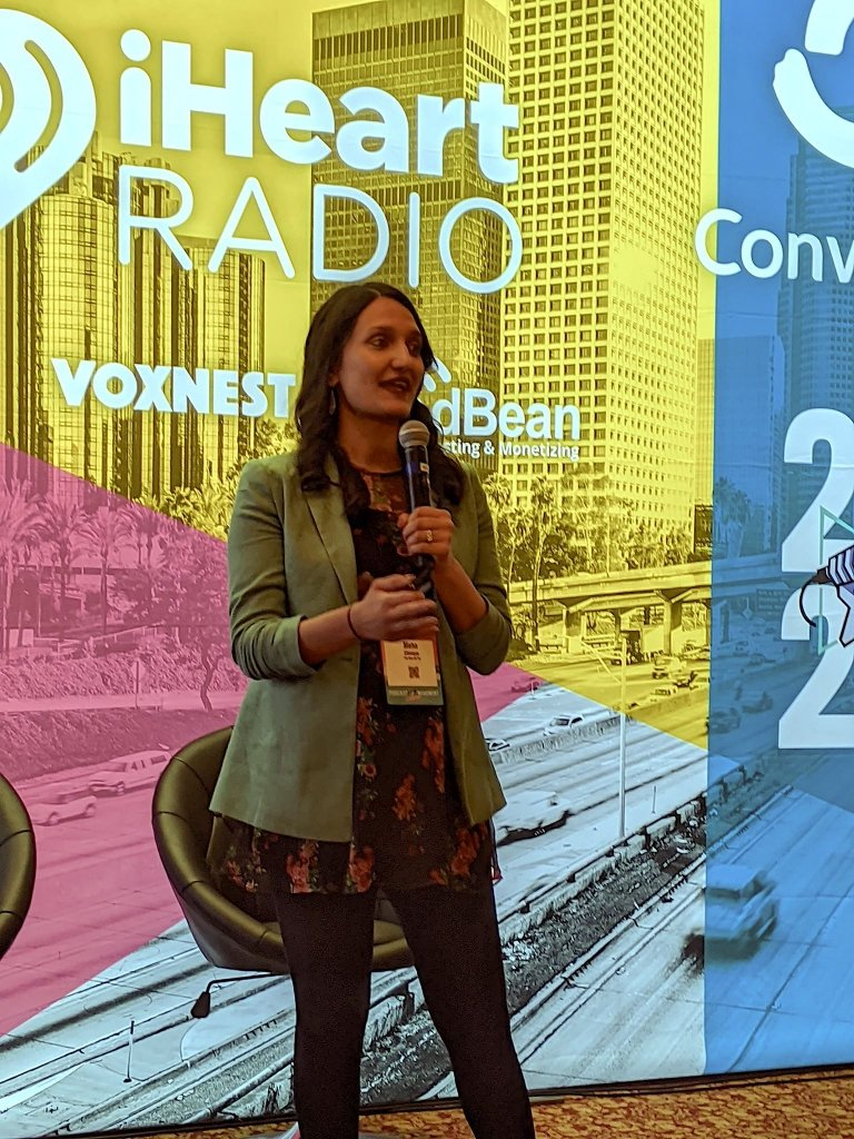 "Meha Chiraya of ""The Nine Oh Six"" podcast speaking at PM2020 in Los Angeles, California"