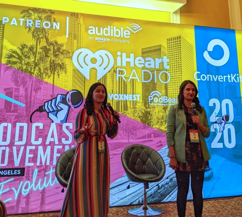 "Archita Fritz and Meha Chiraya of ""The Nine Oh Six"" podcast speak at PM2020 in Los Angeles, California."
